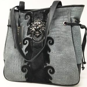 Sharif Lion's Gate Knocker Tote--Charcoal Croco